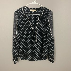 LOFT Ann Taylor Navy Patterned Long Sleeve Blouse